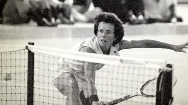 Billie Jean King in a still from the documentary Battle of the Sexes
